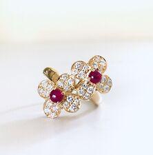 Van Cleef & Arpels Diamond 18k Yellow Gold Ruby Double Trefle Ring