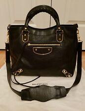 Balenciaga Metallic Edge Black Velo Chevre Leather Messenger Bag