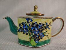 Miniature Enamel & Copper Tea Pot Vincent Van Gogh Irises Enalmeled Bibelot