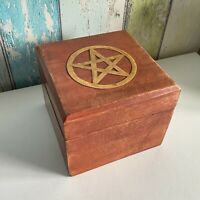 Pentagram Brass Inlay Wooden Box Trinkets/Wiccan/Pagan/Witchcraft