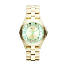 NEW MARC JACOBS WOMEN MBM3295 CLEAR GREEN LOGO DIAL GOLD IP BAND WATCH