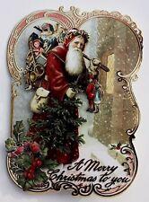 punch studio set of 5 gold foil dimensional 3d christmas cards old world santa
