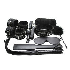 10PCS Black Heavy PU Leather Faux Fur Lined Bondage Set  Cuffs Whip rope paddle