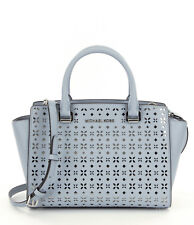 Michael Kors Selma Floral-perforated Medium Satchel Dusty Blue *Non Outlet*