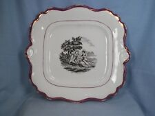 Antique Black Transferware Pink Luster Wall Plaque Platter Tray Mother Children