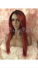 100% Human Hair Blend Deep Realistic Part  Straight 1/Burgundyred Lace Front Wig