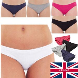 Just Essentials Womens Ladies Bikini Mini Briefs Multipack of 4 Cotton Plain Col