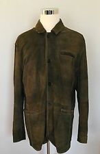 ALBERTO ZIMNI Distressed Mens Leather Jacket Button Front Coat Sz 4XL