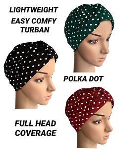 HEADWEAR FOR HAIR LOSS, EASY COMFY POLKA DOT TURBAN CHEMO, ALOPECIA,