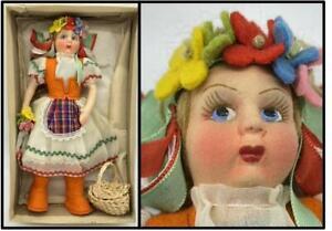 VTG 1950's Carla Firenze Composition Felt Cloth Doll Italy Flowers Original Box