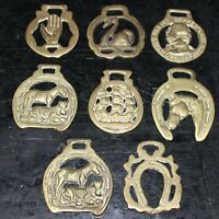 Vintage cast brass horse brasses x8 various designs mid century wall hanging