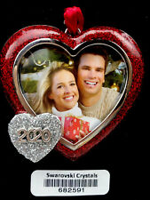 2020 Red Heart Picture Frame Harvey Lewis Christmas Ornament Crystals Swarovski