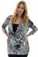 Polyester Animal Print 3/4 Sleeve Tops & Blouses for Women