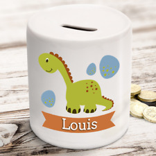 Personalised kids childrens money box in dinosaur design - gift present idea