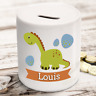Personalised kids childrens money box in dinosaur design - gift present idea