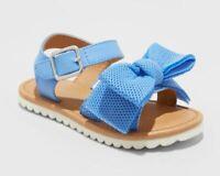 NEW Cat & Jack Toddler Girls Eliora Bow Slide Sandals Blue - CHOOSE SIZE