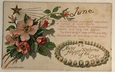 JUNE~ Birthday Month Gems Flowers Antique Greeting Postcard-unused-c-198
