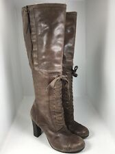 Nine West Casteaway Brown Leather Tall Lace Up Zipper Oxford Boots Women's 6.5