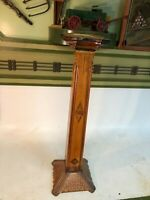 Antique Vintage Art Nouveau Deco Carved Inlaid Wood Pedestal Plant Bust Stand