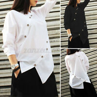 ZANZEA Women Solid Asymmetrical Tee Shirt Collared Button Down Casual Blouse Top