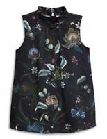 Brand New Ex Highstreet Black Floral High Ruffle Neck Sleeveless Top Blouse Size