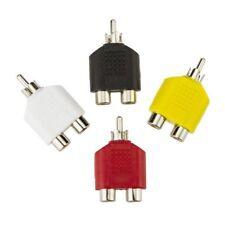 New 4x RCA Y Splitter AV Audio Video Plug Converter 1 Male to 2 Female Adapter