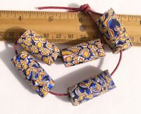 Antique Giant Cobalt Blue & Yellow Millefiori African Trade Beads Venetian Glass