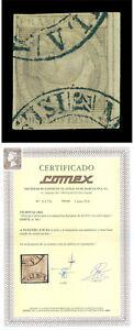"Spanish PHILIPPINES 1854 Q. Isabella II 1r slate Scott 4a used XF ""MANILA"" cxl R"