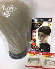 CANVAS BLOCK HEAD WIG MANNEQUIN 14 X 20 DELUXE WEAVING CAP BLACK & 24 T-PIN SET