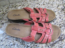 CLARKS RED SLIDE SANDALS WOMENS 6.5 LEATHER  FREE SHIP