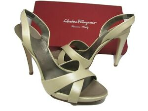 Salvatore Ferragamo women sandals heel platform Dalila slingback ivory sz 10 new