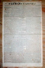 1820 newspaper with front page printing JAMES MONROE State of the Union Address