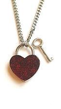 #SHD Ruby Red Black Glitter bdsm Love Heart Lock Padlock Necklace Day Collar