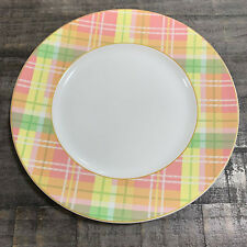 222 Fifth Spring Easter Plaid Pink Yellow Green Porcelain Dinner Plates Set of 4