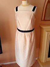 BNWT M&S Cream Cotton Blend Jacquard Cocktail Party Cruise  Dress Size 18