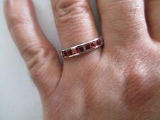 14K Gold Garnet Wedding Band Ring  4.50 MM Wide Size 10.25