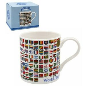 New boxed Educational World Flags gift china mug coffee cup Free P+P