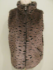 Jamie Sadock Vest Jacket Sz Large Brown Faux Fur Leopard