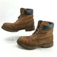 Timberland Mid Top Combat Boot Men 9.5 Waterproof Lug Sole Genuine Leather Brown