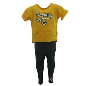 Green Bay Packers Official NFL Baby Infant Toddler Girls Size Shirt & Pants Set