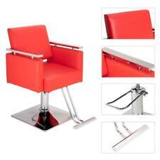 360° Swivel Square Hydraulic Adjustable Barber Chair Salon Equipment Red