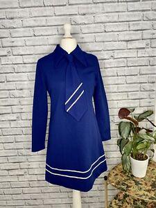 Original Vintage 1960s St Michael Mod Blue Dress with Tie