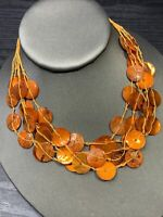 """Bohemian Orange  Beaded Mother Of Pearl   Multi 5 Strand necklace 16"""""""