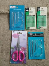 Lot of Needles, quilling scissors. Repair, curved, tapestry needles