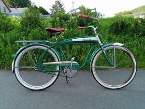 "1953 Roadmaster Men's Tank Bike Green w/White & Red Trim 26"" Balloon Tire Model!"