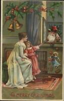 Christmas - Girl & Mother See Santa Claus Through Window BW 296 Postcard