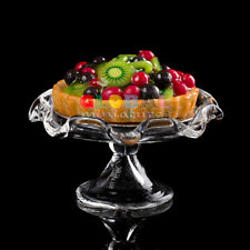 Dollhouse Miniatures Mixed Berry and Kiwi Fruit Tart on Scallop Edge Glass Stand