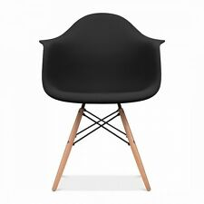 black modern eiffel abs shell pyramid dining arm chair with wood dowel legs