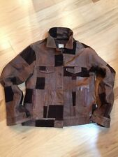 Levi's Vintage Trucker Leather Nubuck  Patch work Jacket Men's Brown L Rare MINT