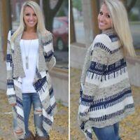 Womens Warm Print Waterfall Cardigan Coats Baggy Long Sleeve Jumper Sweater 6-16